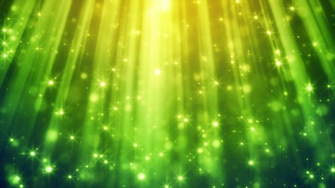 festive glitter particles in green light rays loop  - stock footage