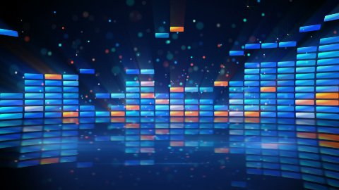 digital shiny equalizer with reflection loop  - stock footage
