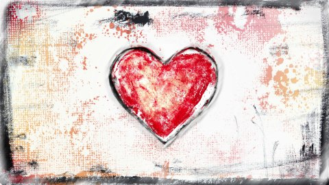 grunge painted heart shape glitch loop  - stock footage