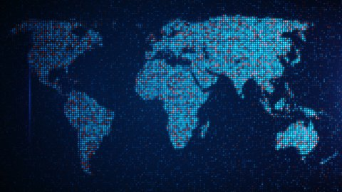 scan pixelated world map loop background  - stock footage
