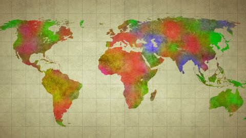 watercolor world map animation  - stock footage