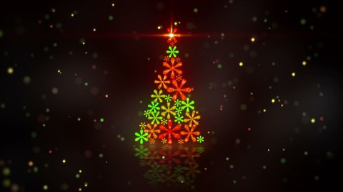 christmas tree shape of glowing snowflakes loop