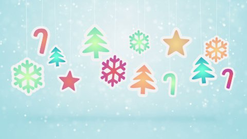hanging christmas decoration and snowfall loopable background  - stock footage
