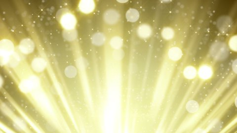gold rays and bokeh circles abstract loopable background  - stock footage