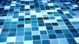 flying over glowing blue squares seamless loop