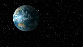 Asteroid encountering Earth - editable clip, motion graphic, stock footage