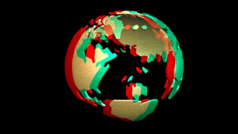 Animation of a rotating Earth Globe, stereoscopic - stock footage
