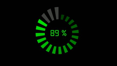 progress bar - digital style, radial design, increasing size and color - stock footage