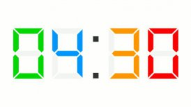 digital clock full 12h time-lapse - colorful - editable clip, motion graphic, stock footage