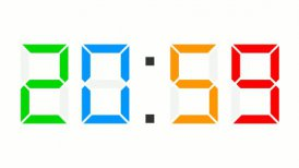 digital clock 12-24h time-lapse - colorful - editable clip, motion graphic, stock footage