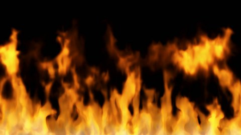 fire on black background - high temperature burning sequence - stock footage