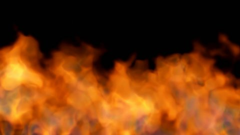 fire on black background - red hot turbulent burning - stock footage