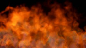 fire on black background - red hot turbulent burning - motion graphic