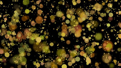 bokeh - 30fps loop - golden circles on black background - stock footage