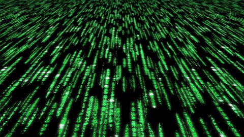 matrix code 3d - 30fps fast loop, green on black - stock footage