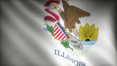 Flag of Illinois - stock footage