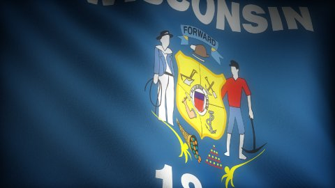 Flag of Wisconsin - stock footage