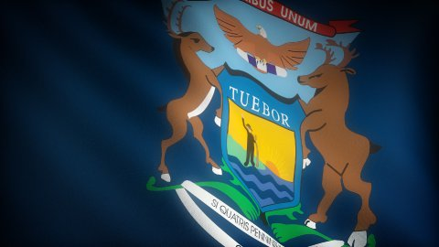 Flag of Michigan - stock footage