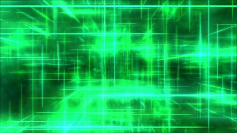 Travel through a grid of light beams - Loop Green - stock footage