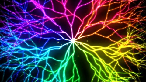 Abstract Lightning Circle, Growing Branches - Rainbow - stock footage