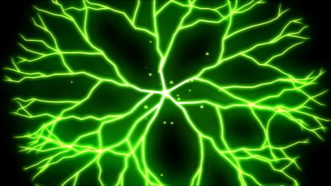 Abstract Lightning Circle, Growing Branches - Green - stock footage