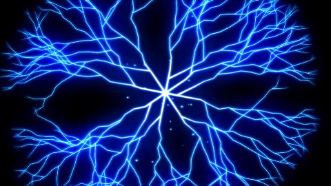 Abstract Lightning Circle, Growing Branches - Blue - stock footage