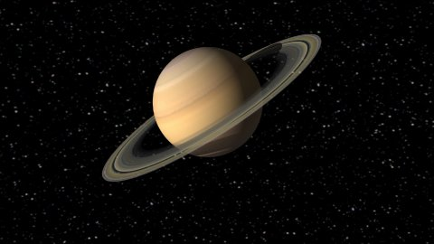 Digital Animation of the Planet Saturn  - stock footage