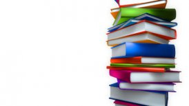 Colorful Books Stack on white (Loop)