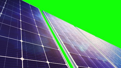 Solar Panels Panorama (Loop on Green Screen) - stock footage