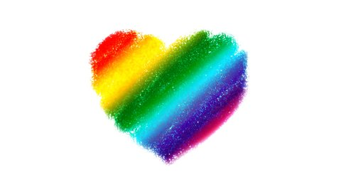 Rainbow Heart Drawing with Zoom - stock footage