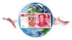 YUAN Banknotes Around Earth on White (Loop) - motion graphic
