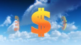 Currency Symbols in Clouds (Loop) - motion graphic