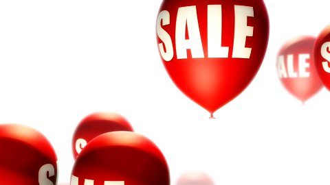Balloons Sale Red on White (Loop) - stock footage
