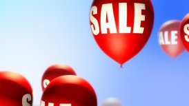 Balloons Sale Red on Blue (Loop) - motion graphic