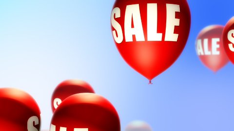 Balloons Sale Red on Blue (Loop) - stock footage