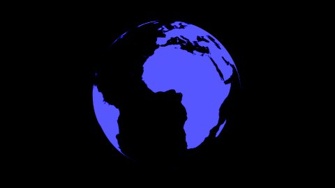 Symbolic Earth Globe Rotating on Black (Loop with Matte) - stock footage