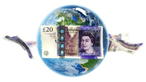GBP Banknotes Around Earth on White (Loop) - stock footage