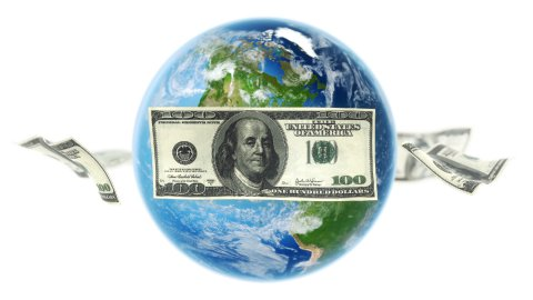 USD Banknotes Around Earth on White (Loop) - stock footage