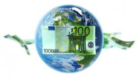 EUR Banknotes Around Earth on White (Loop) - motion graphic