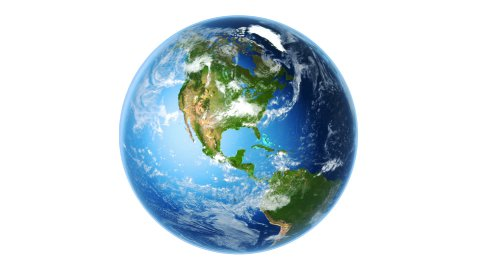 Realistic Earth Rotating on White (Loop) - stock footage