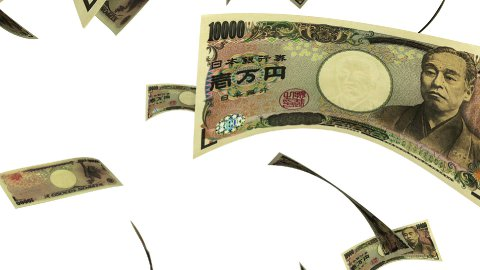 Falling Yen (Loop on White) - stock footage