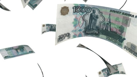 Falling Rubles (Loop on White) - stock footage