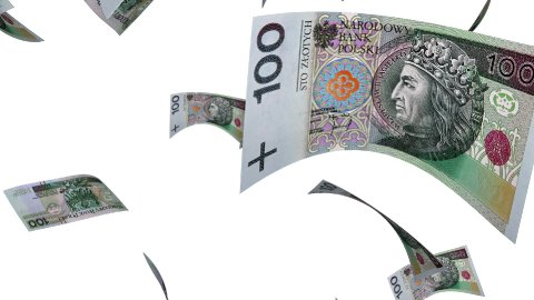 Falling Polish Zlotys (Loop on White) - stock footage
