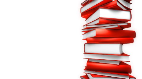 Red Books Stack on white (Loop) - stock footage