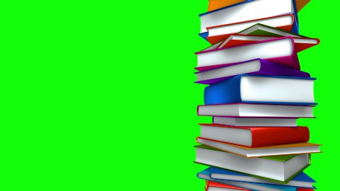 Colorful Books Stack (Loop on Green Screen) - stock footage