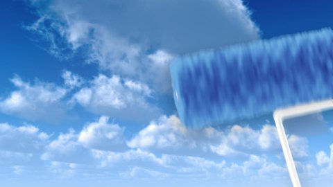 Roller painting revealing moving sky. Timelapse clouds. - stock footage
