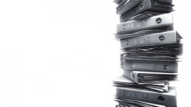 Office Binders Stack on white (Loop) - motion graphic