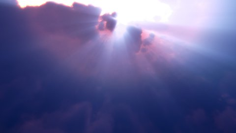 Blue Clouds Rays Flyby (Loop) - stock footage