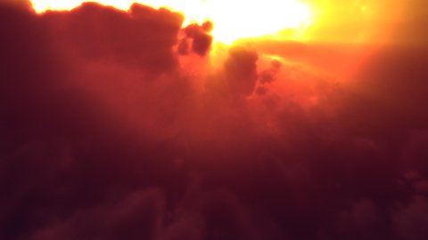 Sunset Clouds Flyby (Loop) - stock footage