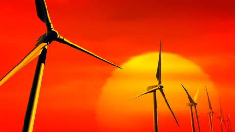 Wind Turbines on Sunset (Loop with Matte) - stock footage